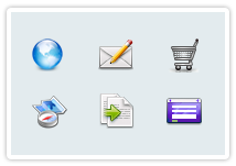 icons representing online shopping and business tools on your website